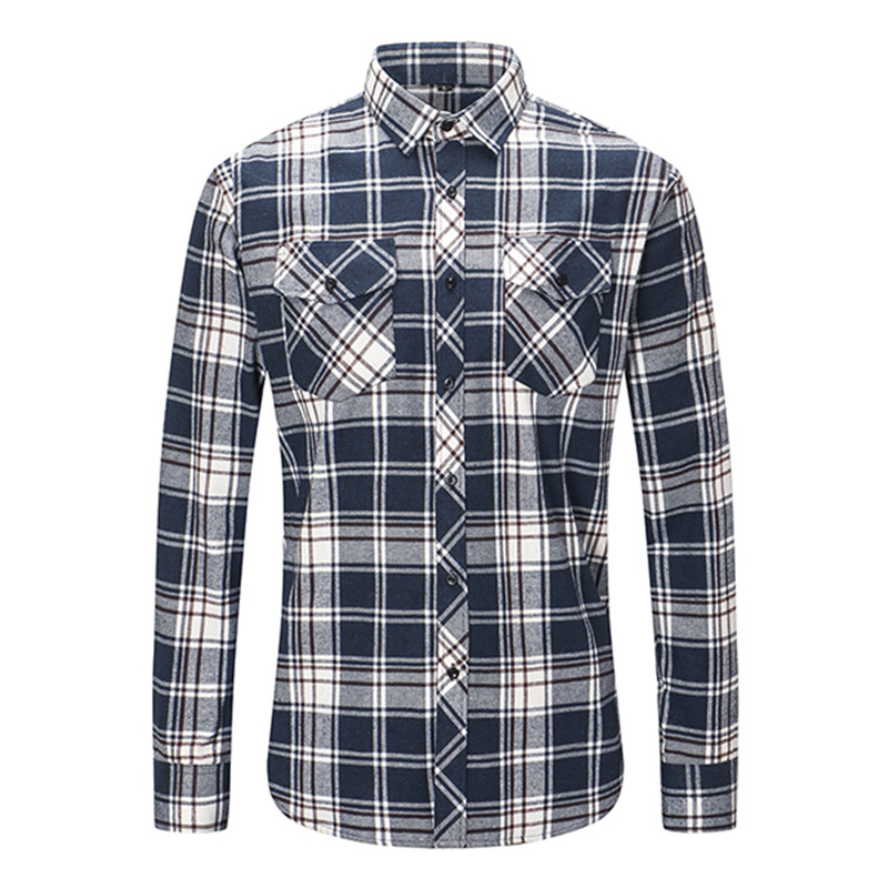 Dioufond Mens Pocket Flannel Plaid Cotton Shirt Long Sleeve Checkered Casual Slim Fit Black Warm Autumn Winter Shirts New 2