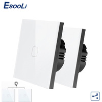 Esooli EU Standard 1/2 Gang 2 Way Control Wall Touch Screen Switch,Crystal Glass Panel,cross/through switch,2pcs/pack