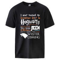 Hogwarts Game of Thrones Star Wars Jedi Mens T shirts Summer Cotton Tee Winter is Coming Stark Wolf Male Casual Short Sleeve Tee