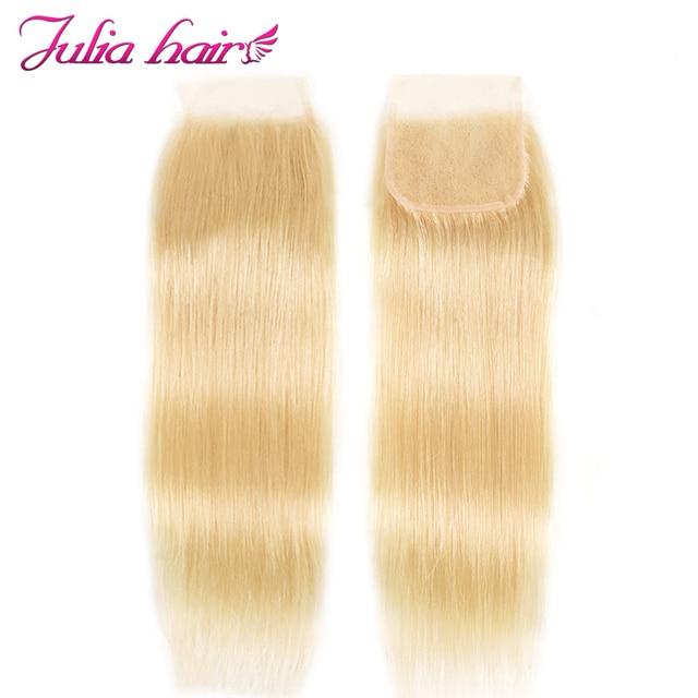 Ali Julia włosy blond #613 kolor 3 lub 4 zestawy z zamknięcie koronki 10 do 24 Cal wysoki współczynnik brazylijski proste włosy Remy włosy