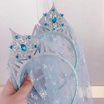 Cute Princess Imitation Blue Crystal Crown Yarn Hairbands Snowflake Headdress for Girls Simple Children Fashion Hair Accessories - discount item  40% OFF Headwear