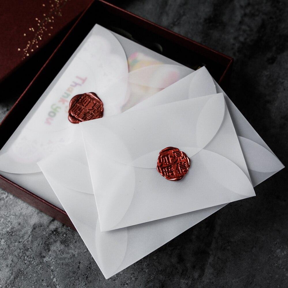 40 unids/lote Sobres de papel de ácido sulfúrico semitransparente para guardar tarjetas/postales DIY, invitación de boda, embalaje de regalo
