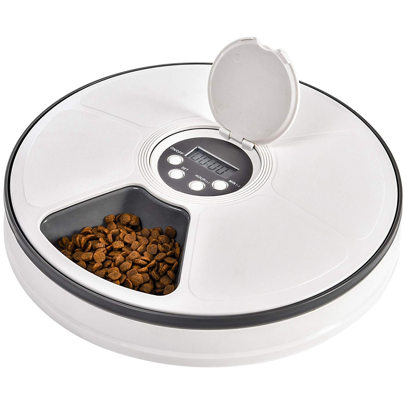 Automatic Pet Feeder Food Dispenser for Dogs, Cats & Small Animals - Features Distribution Alarms, Programmed Timed Self 6 Meal