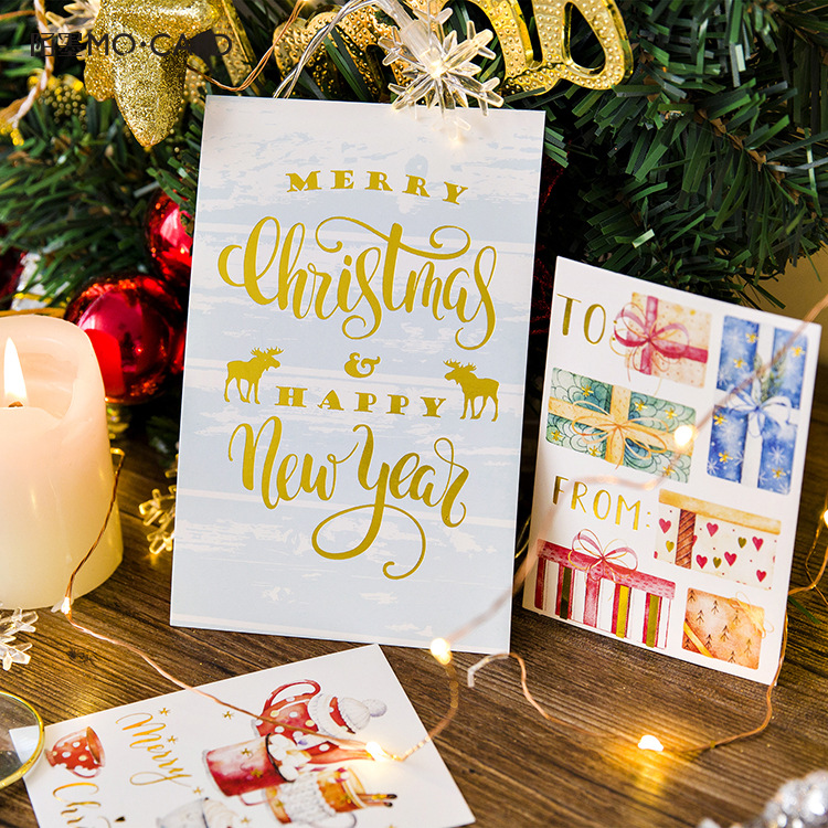 12pcs/pack Cute Merry Christmas Tree Bear Postcards Greeting Cards Message Cards Wishing Cards Stationery Christmas Gifts