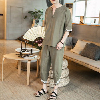 New Style Chinese-style Summer Thin Large Size Embroidered MenS Wear Chinese Costume Clothing Retro T-shirt Chines
