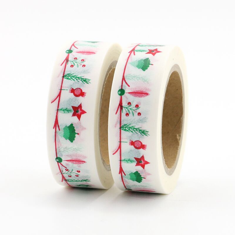 2PCS/lot Decorative Christmas Washi Tapes Paper For Planner Scrapbooking Bullet Journal Adhesive Tapes 15mmx10m School Supply