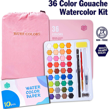 Watercolor-Paint-Set Water-Brush Gouache 36-Colors Pigment-Painting School-Supplies Solid