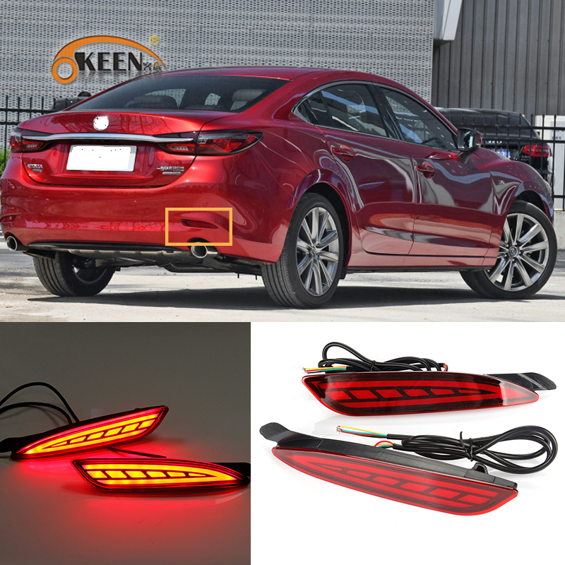 2PCS Rear Fog <font><b>Light</b></font> For <font><b>Mazda</b></font> <font><b>6</b></font> Atenza 2019 2020 Car LED Rear Running <font><b>Light</b></font> Bumper Brake <font><b>Light</b></font> Dynamic Turn Signal Reflector image