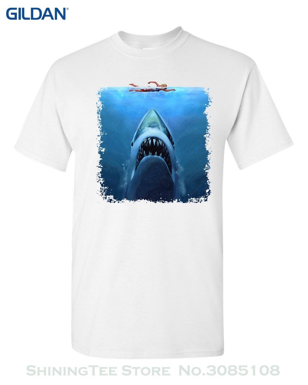 Fashion Youth T Shirt Free Shipping Shark Jaws Swimmer Attack Movie Shark Week Sublimation Men's Tee Shirt image