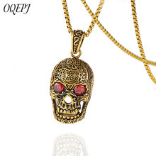 OQEPJ Gothic Skull Red CZ Stone Necklace Pendant Stainless Steel Gold Silver Color Pendants Biker Necklaces Men Charm Jewelry 925 sterling silver cross flower red cz beautiful biker rocker punk pendant 8a010 steel necklace 24