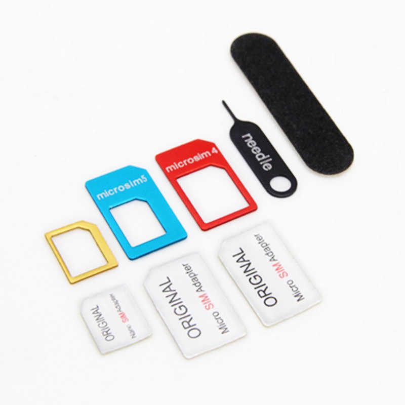 5 bộ 5 trong 1 Nano Sim Adapter + Thường & amp Micro Sim + Sim Tiêu Chuẩn & amp Dụng Cụ Với kim Hở cho iPhone 7 6S 6 FS