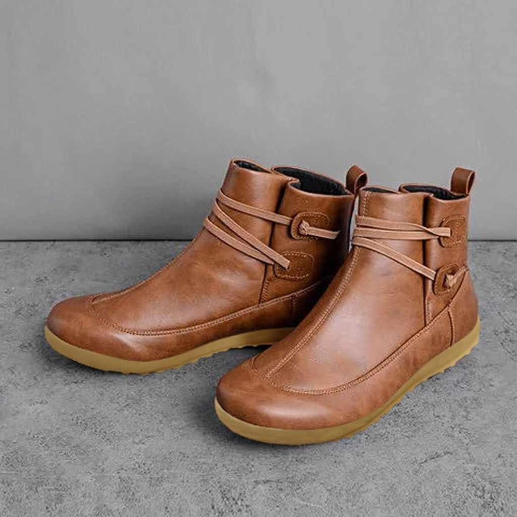 ผู้หญิง VINTAGE รองเท้าหนังแบนรองเท้ากันน้ำฤดูหนาวรอบ Toe ข้อเท้ารองเท้าบูทสตรีข้อเท้า Socofy หนัง Lace Up boot