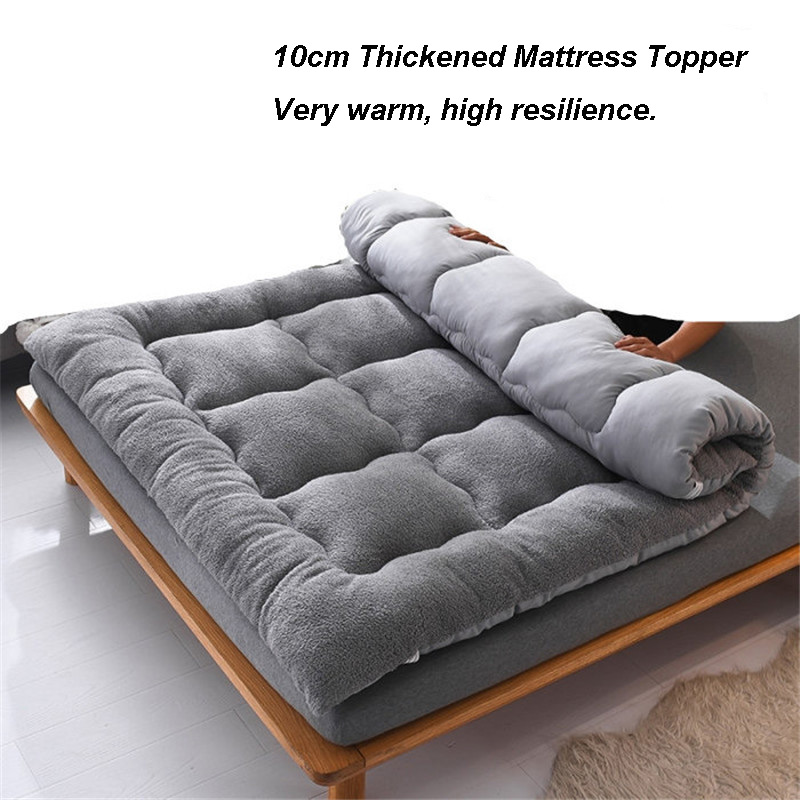 High Quality Soft Berber Fleece Mattress Topper Warm Tatami Mattress 10cm Thickness Down Cotton Mattress Pad Bedroom Furniture