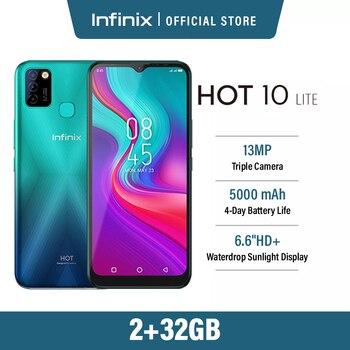 Global Version Infinix Hot 10 Lite 2GB 32GB Smart Phone 6.6''HD Screen Mobile Phone 5000mAh Battery 13MP AI Triple Camera 1