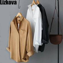 2020 Spring Blouse Women White Faux Suede Long Sleeve