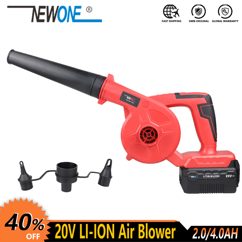 NEWONE Cordless Lithium Electric Leaf Air Blower Blowing And Sucking Dust Cleaner Electric Turbo Fan Inflation Deflation Dual