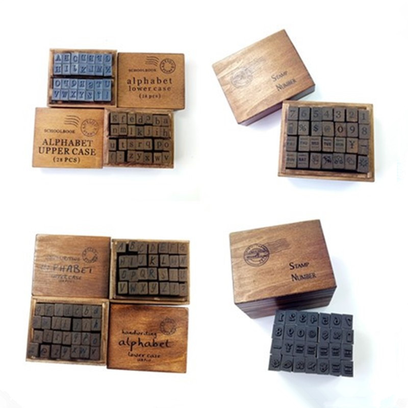 28 Pcs/set Digital Sunday Wooden Seal In Cursive Case Stationery Scrapbooking Rubber Stamps Standard