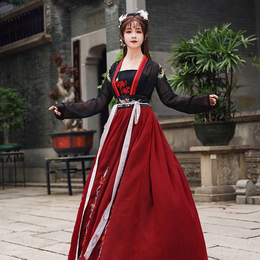 Chinese Traditioanl Hanfu For Woman Elegant Fairy Folk Dance Costume Oriental Embroidery Stage Performance Retro Dresses