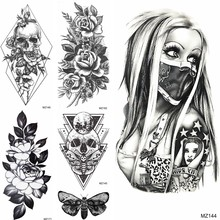 Cool Gangster Temporary Tattoos Fake Geometric Death Skull Tatoos Waterproof Black Planets Flower Tattoos For Women Men Body Art(China)