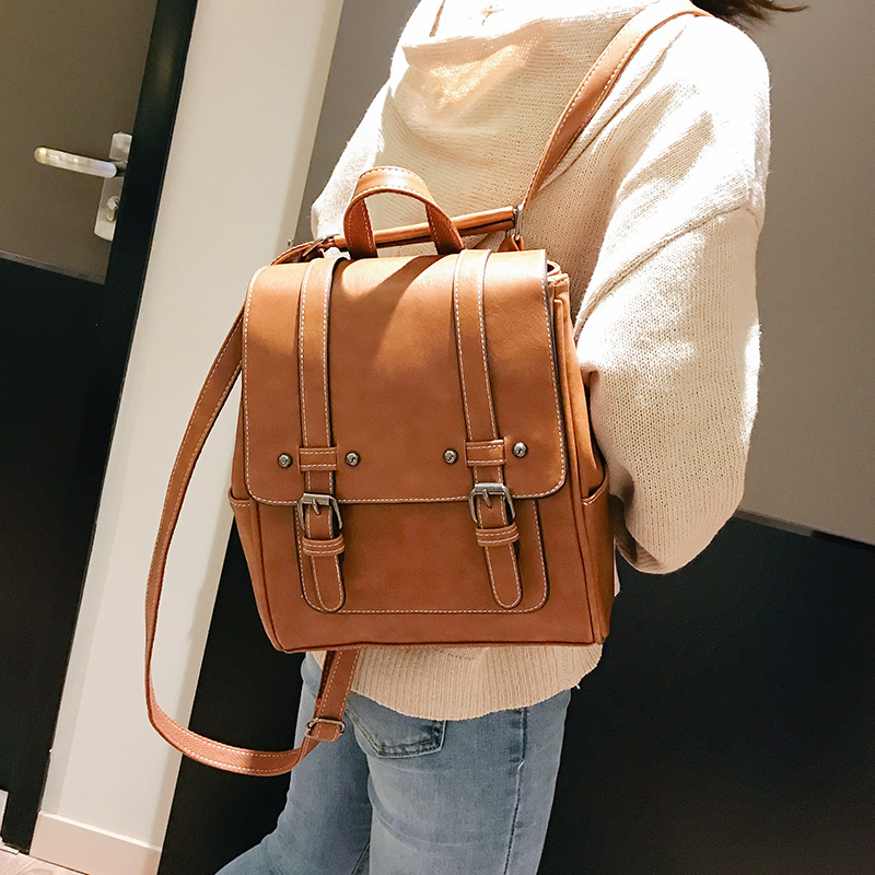 Image 3 - New Vintage Women Backpack High Quality Leather School Bags for Girls Lady Simple Style Backpack Fashion Leisure Pu Shoulder BagBackpacks   -