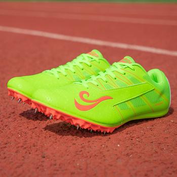 Pary buty lekkoatletyczne zielone kolce buty lekkoatletyka mężczyźni wiosna lekkie męskie buty do biegania trampki buty wyścigowe tanie i dobre opinie LUONTNOR Bezpłatne elastyczne Lace-up Cotton Fabric Buty utwór i pola Syntetyczny Pcv podłogi Średnie (b m) Zaawansowane