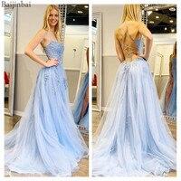 Baijinbai Stunning Sky Blue Prom Dresses Tulle A line vestidos de gala Formal Wear Appliques Lace Up Corset Evening Party Gowns