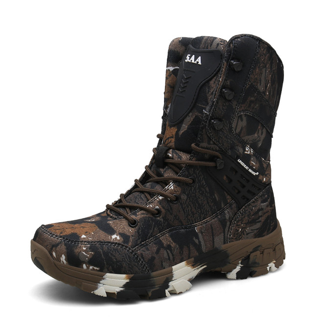 New Waterproof Men Tactical Military Boots Desert Boots Hiking Camouflage High-top Desert Men's Boots Fashion Work Men's Shoes