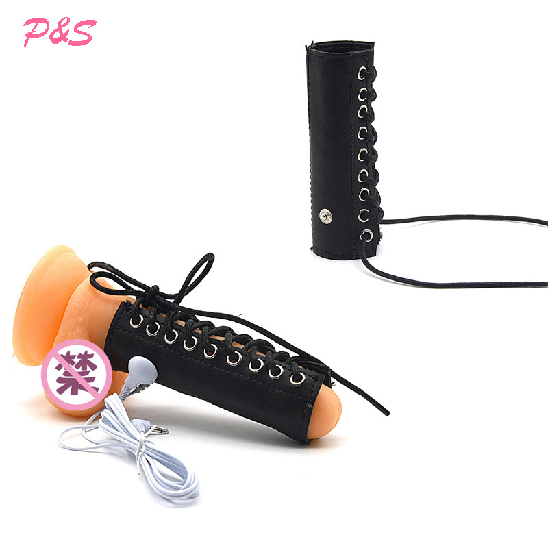 PU Leather Penis Sleeve Cock Ring Electro Shock Sex Toy ,Electrical Stimulation Penis Ring Medical Themed Toy Accessory For Man