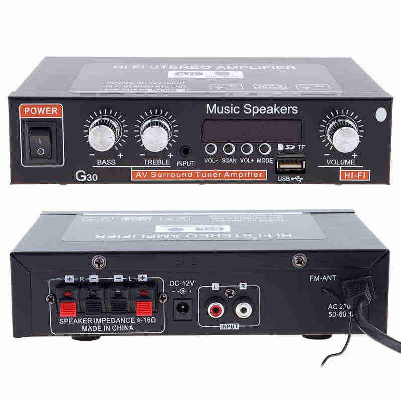 AMPLIFICADOR DE POTENCIA DE Audio Universal G30 Hifi Bluetooth para coche reproductor de Radio FM compatible con SD/USB/DVD/MP3 con control remoto UE Pl