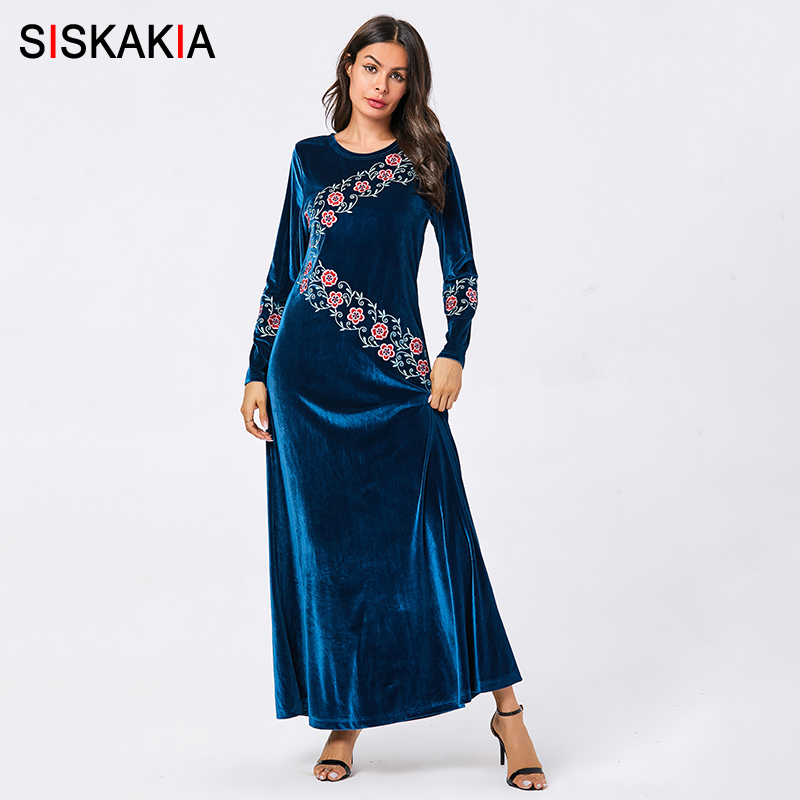 Siskakia Elegant Muslim Embroidery Long Dress Velvet Round Neck Long Sleeve Ankle Length Dresses Blue Autumn 2019 Women's Clothe