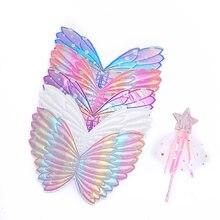 Crianças crianças borboleta asas de anjo varinha de fadas vara para fotografia masquerade dia das bruxas purim cosplay festa aniversário traje