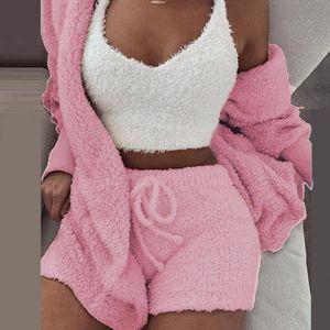 Image 4 - 3 Teile/satz Winter Sexy Frauen Hause Tragen Anzug Casual Pyjamas Langarm Ausgesetzt Nabel Weste Shorts Set