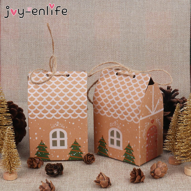 5/10/20pcs House Shape Christmas Paper Boxes Candy Gift Boxes Food Cookie Packing Bag Christmas Party Gift Decoration Navidad