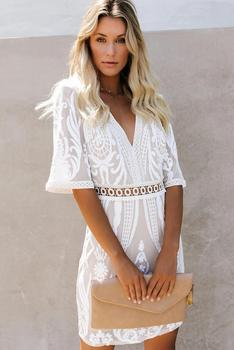 Echoine White Embroidered Sequin Mini Dress Women Sexy Deep V Neck Half Sleeve Plus Size S-XL Beach Party Short Dress 2