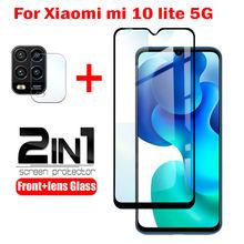 2 IN 1 Tempered Glass for Xiaomi Mi 10 lite 5G Cover Curved Screen Protector Camera Lens Film for Xiaomi Mi 10 lite 5G glass