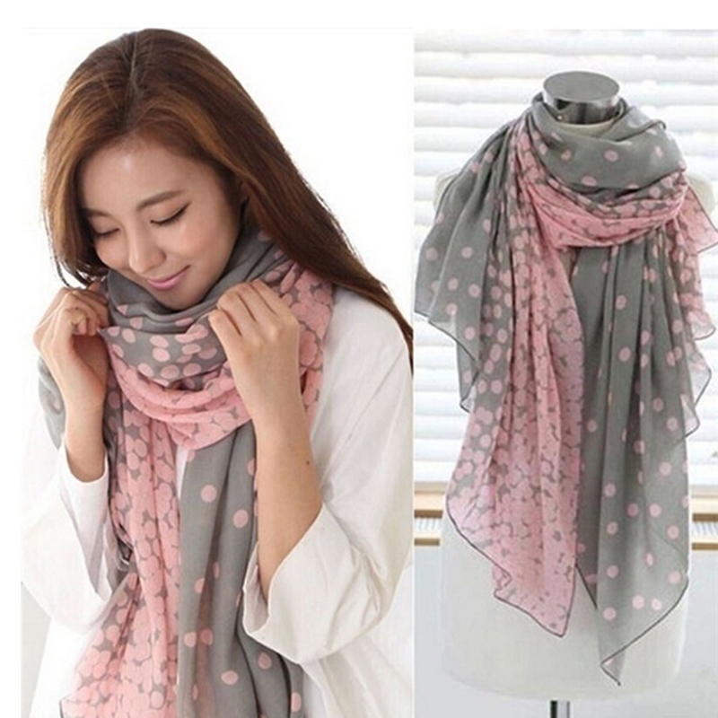 Hot Sale 166*60cm Autumn Warm Soft Long Voile Neck Large Shawl Stole Pink Grey Dots Scarve Women Scarf