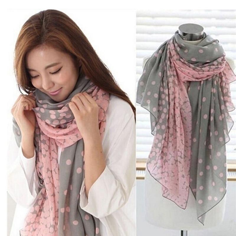 Hot Sale 166*60cm Autumn Warm Soft Long Voile Neck Large Shawl Stole Pink Grey Dots Scarve Women Scarf