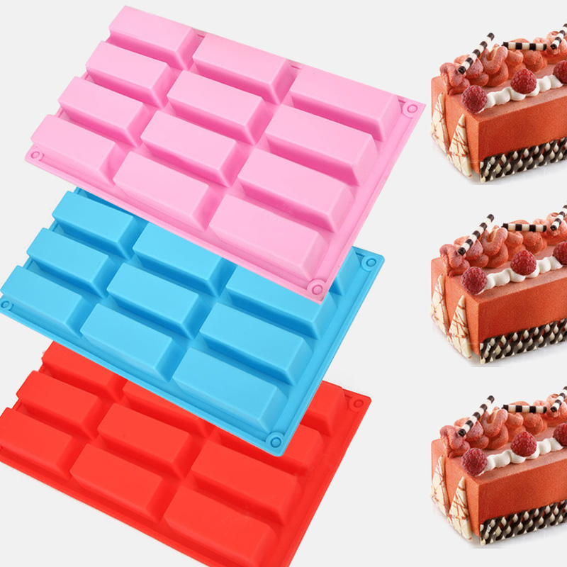 12 Holes Rectangle Shapes Cake Fondant Chocolate Soap Silicone Mold Mould Biscuit Cookie Baking Kitchen Bakeware Accessories