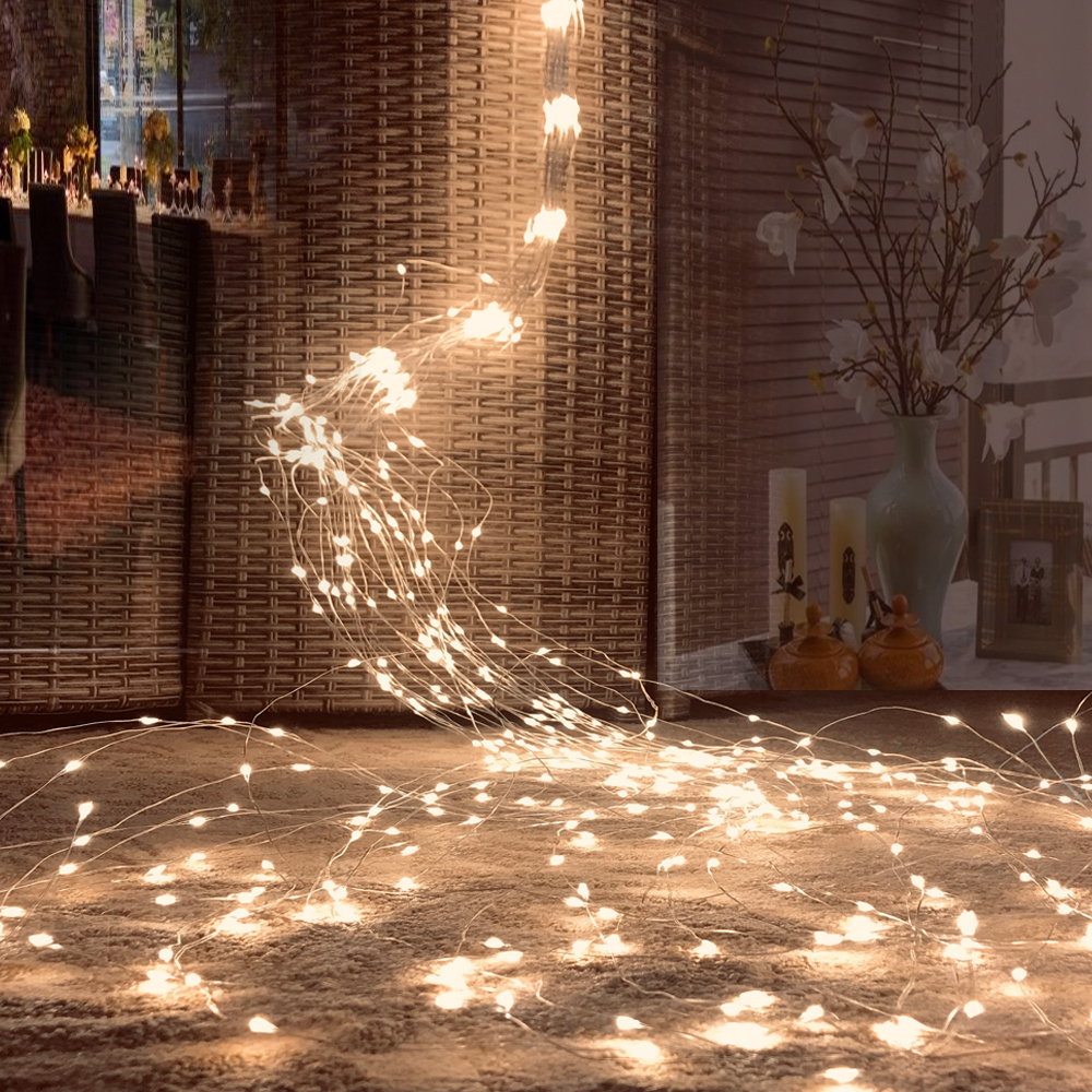 100/200/300/600 LEDs Vines String Lights Branch Copper Wire Tree Lights Plug To DC12V Wedding Plant Garden Room Decoration Light