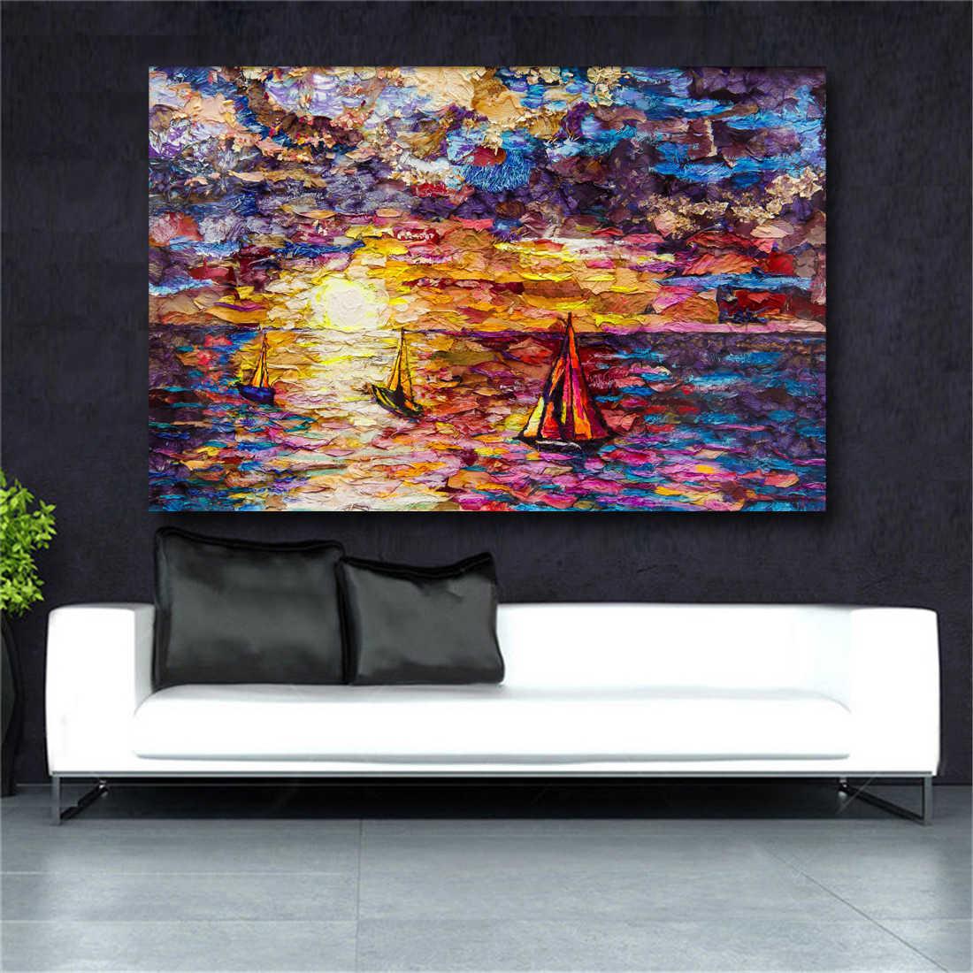 שיט מופשטים בד ציור קיר אמנות בעלי החיים שמן ציורי ענק גודל קיר הדפסי כרזות לסלון