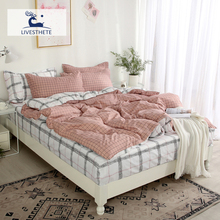 Liv-Esthete Geometry Bedding Set Duvet Cover Bedspread Flat Sheet Decorative Home Textiles 3/4pcs Comforter Bed Linen