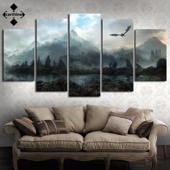 Pintura de paisaje de fantasía con dragón