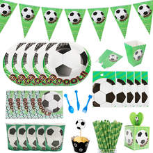 Football Theme Party Tableware Set Paper Plates Tablecloth Cups Gift Box Baby Shower Birthday Supplies Decor Kids Favors