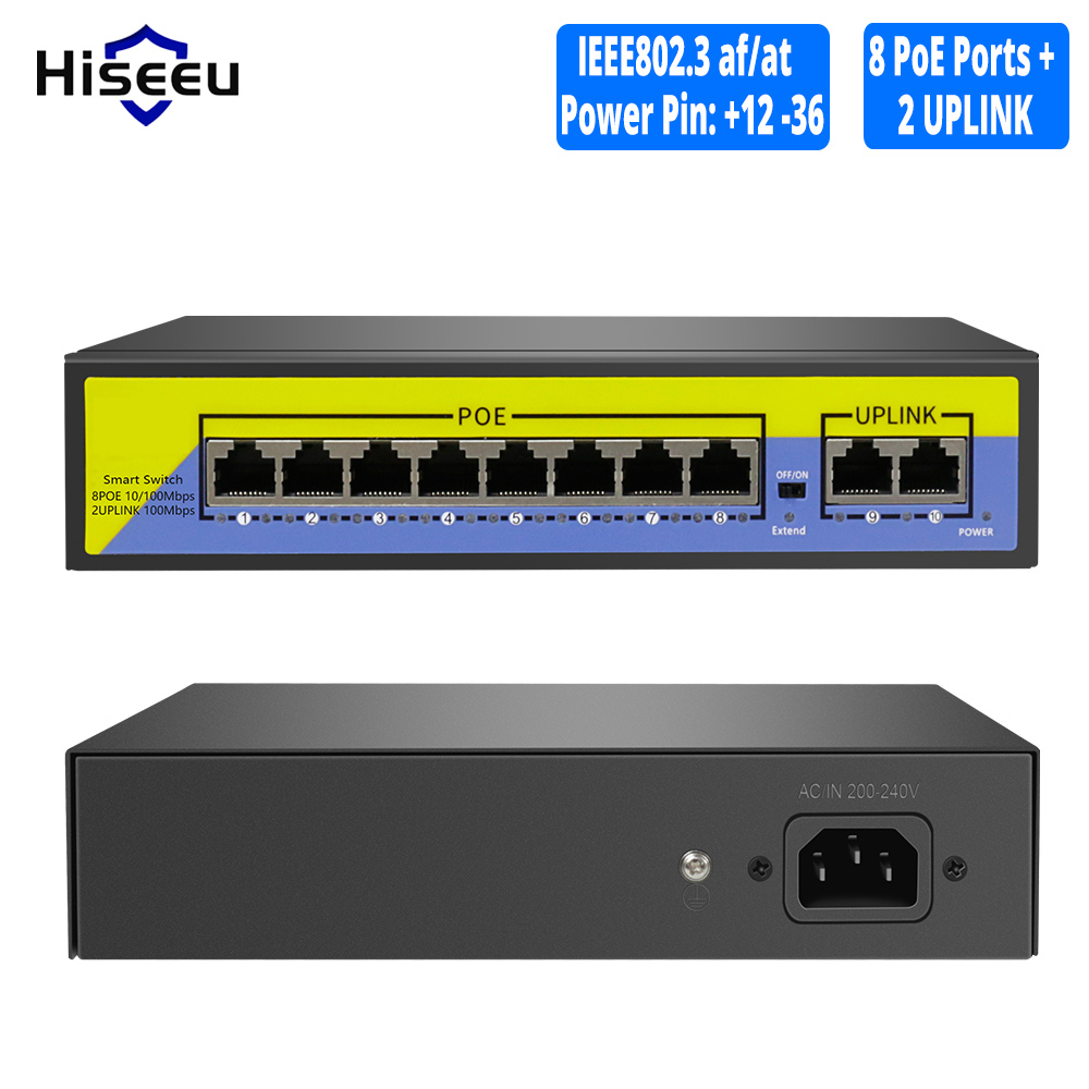 Hiseeu 48V 8 Ports POE Switch With Ethernet 10/100Mbps IEEE 802.3 Af/at For IP Camera/CCTV Security Camera System/Wireless AP Ft