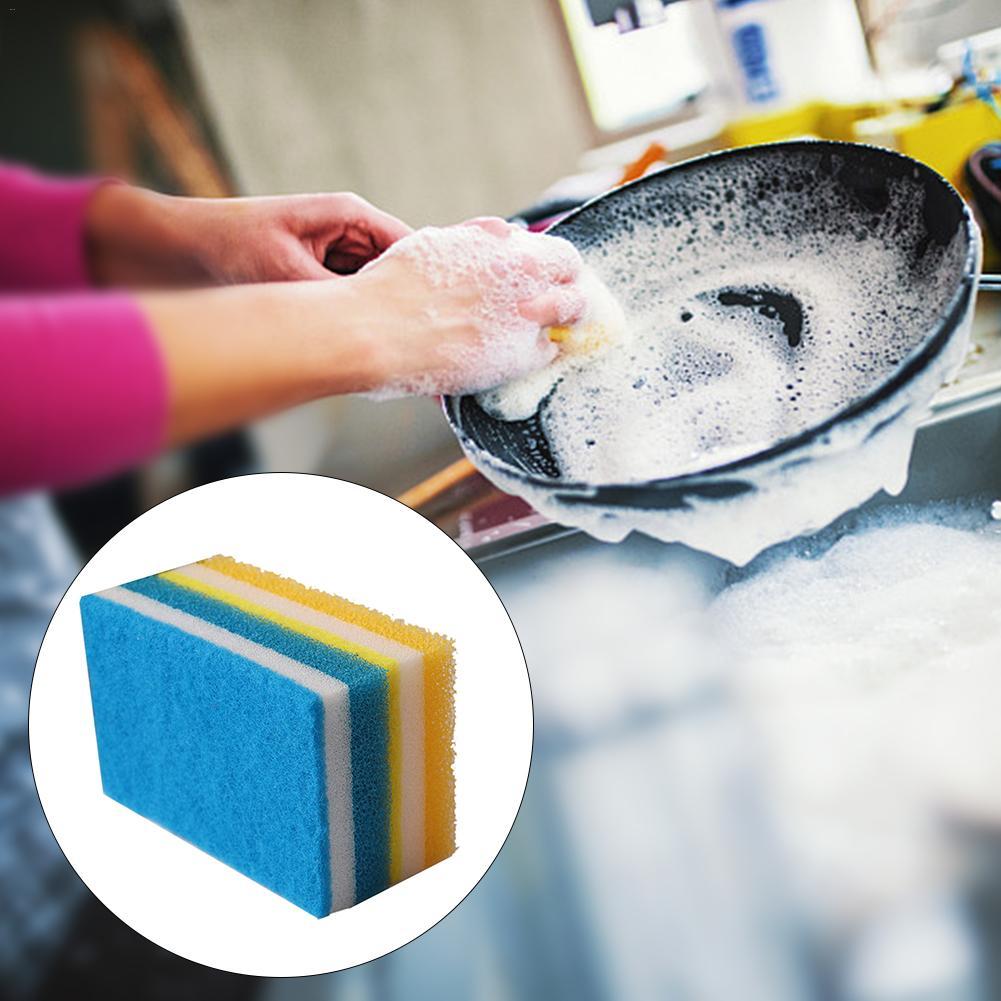 10 pces três-camada de lavagem de louça esponja antiaderente pote nenhum traço cozinha limpeza magia esfregar esponja # eo