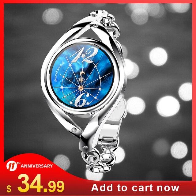 Smart Watch Women DIY Watch Face Full Stainless Steel Smart Watch for Women IP68 Waterproof BT5.0 LEMFO LEM1995 Watch Women Gift 1