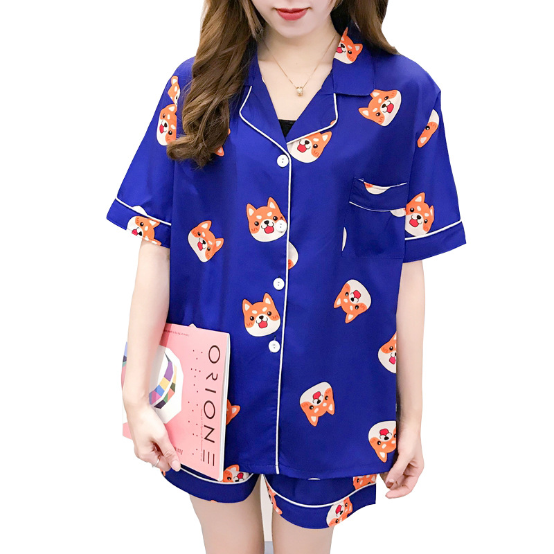 Spring And Summer New Products Women Pajamas Spandex Cute Shiba Inu Korean-style Homewear Set