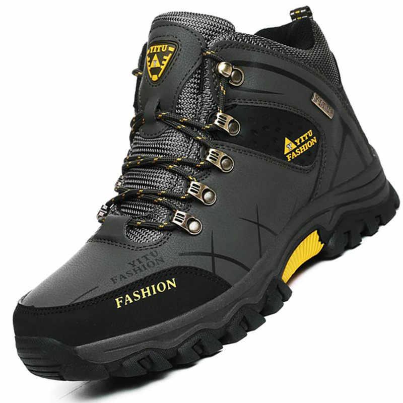 Marka Erkek Kış Kar Botları Sıcak Süper Erkekler Yüksek Kaliteli Su Geçirmez deri sneakers Açık Erkek yürüyüş botları iş ayakkabısı 39-47