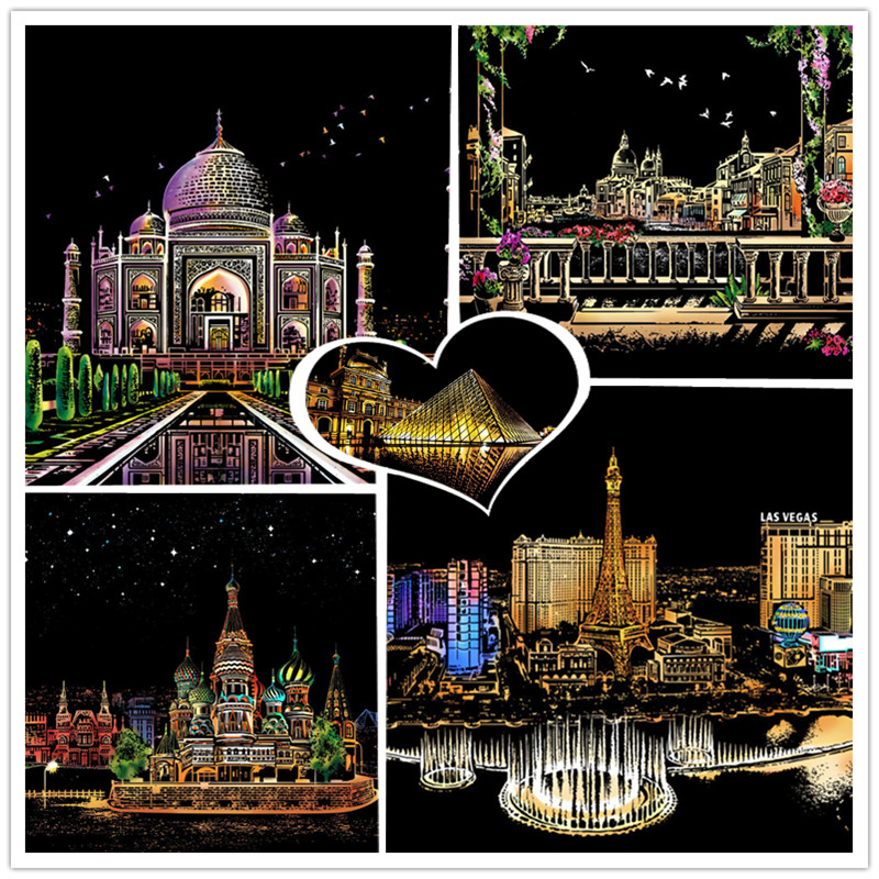 41*28cm DIY Magic Night View City Series Scratch Paintings Art crafts Paper Europe Home Decor Picture Decompression Drawing toys