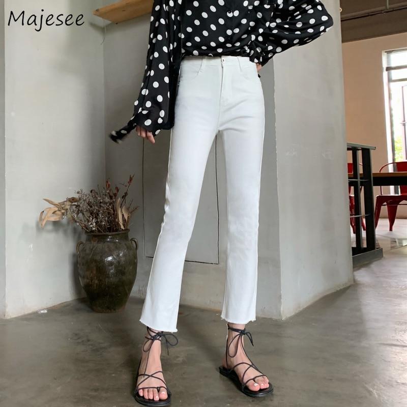 Женские джинсы в Корейском стиле, простые, универсальные, базовые, одноцветные, длиной до щиколотки, Ulzzang качество, для отдыха, для девушек